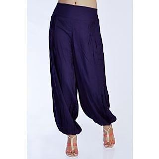 Women Stylish Pure Rayon Purple Color Harem Pants Bottom Trousers