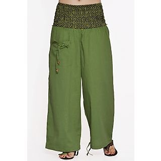 Indian Men Women Unisex Green Color Cotton Alladin Harem Pants With Stylish One