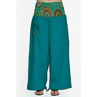 Indian Men Women Unisex Blue Color Cotton Alladin Harem Pants With Stylish One