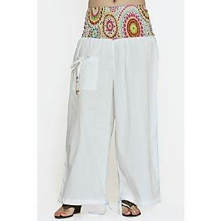 Indian Men Women Unisex White Color Cotton Alladin Harem Pants With Stylish One
