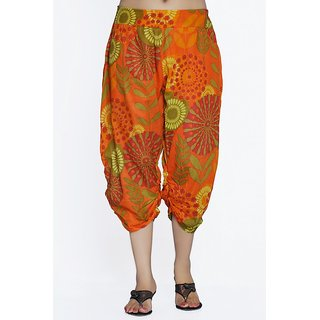 Women Crepe Cotton Orange Mulicolored Flowers Design Short Harem Capri Pants