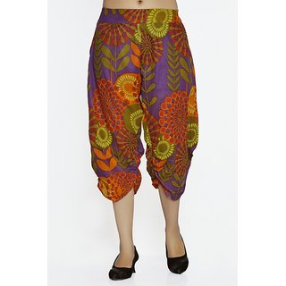 Women Crepe Cotton Purple Mulicolored Flowers Design Short Harem Capri Pants