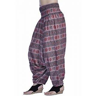 Women Light Purple Color Om Printed Cotton Harem Pants Afghani