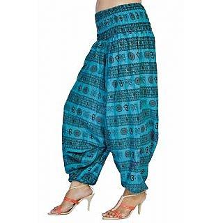 Women Sky Blue Color Om Printed Cotton Harem Pants Afghani
