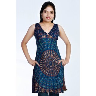 Women's Mandola Printed Blue Color Top Kurta Kurti