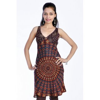 Women's Mandola Printed Brown Color Top Kurta Kurti