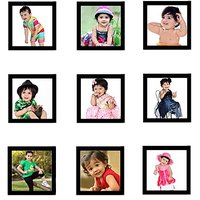 Collage Photo Frame Set of 9-Black-4X4