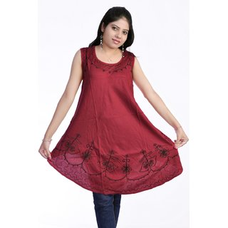 Women Stylish Cut Sleeves Pure Rayon Maroon Color Kurti Top Tunic