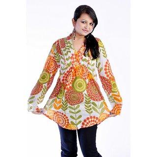 Women Multicolored Printed Cotton Top Kurta Kurti - 1697798