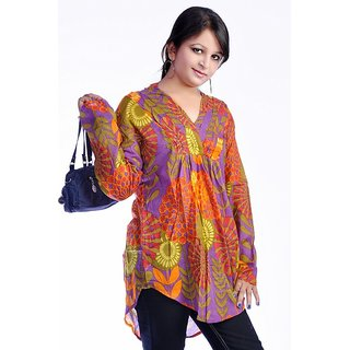 Women Multicolored Printed Cotton Top Kurta Kurti - 1697804