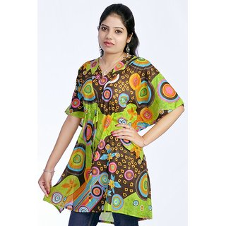 Women Multicolored Printed Cotton Green Color Kaftan Dress Tunic Top