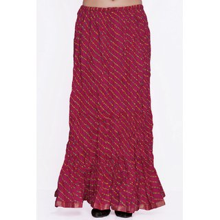 Indian Rajasthani Cotton Leheriya Printed Pink Color Long Skirt
