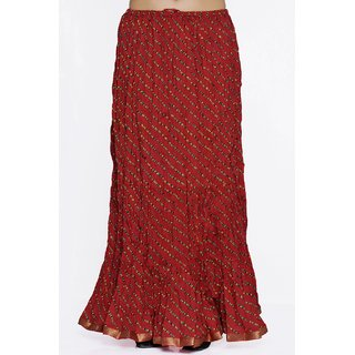 Indian Rajasthani Cotton Leheriya Printed Red Color Long Skirt
