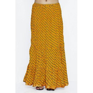 Indian Rajasthani Cotton Leheriya Printed Yellow Color Long Skirt