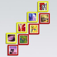 Collage Photo Frame Set of 8-SQR-4YLW-4RED-4X4
