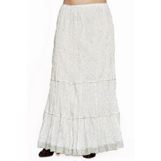Indian Women Silver Printed Cotton White Long Skirt