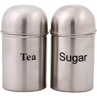 Bhalaria Cannister Dome 2 Pieces Set 9 Cm Tea,Sugar - 1 L Stainless Steel Food C