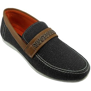 B3trendz Black Canvas Slip-On Loafers