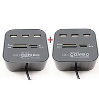 Finger's 3 Port High Speed USB Hub With Memory Card Reader