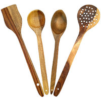 Onlineshoppee Wooden Handmade Serving And Cooking Spoon Kitchen Utensil Set