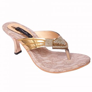 Smalto Golden Piramid Burmish Party Wear Sandal For Women