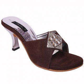 Smalto Brown Burfi News Hard Buttom Party Wear Sandal For Women