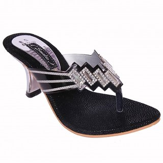 Smalto Black Steps Sunny Burmish Party Wear Sandal For Women