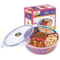 DRY FRUIT /NAMKEEN STORAGE CUM SERVING TRAY WITH AIRTIGHT LID