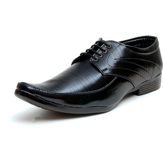 00RA Shining Black With Fine Lining Design Lace Up Formal Shoes For Men