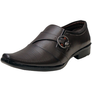 00RA Brown With Fine Lining Design & Buckle Party Wear Shoes