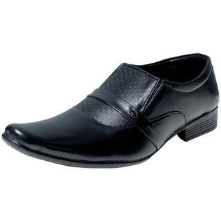 00RA Black Slip On Formal Shoes For Men