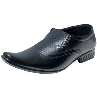 00RA Black Stylish Slip On Formal Shoes For Men