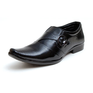 00RA Black With Fine Lining Design & Buckle Slip On Formal Shoes For Men
