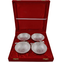 BrassValue Silver Plated 4 Brass Bowls & Spoon Set