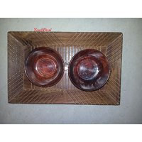 Wooden Handicraft Serving Tray Rectangle With 2 Bowl Gift Item WHTR00027