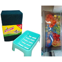COMBO Of 10 Green Scrub & 1 Soap Case + Multipurpose Fridge Storage 6 Pcs