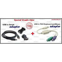 Combo Of USB To RS232 COM Port Serial Adapter And USB To PS2 Converter / Cable