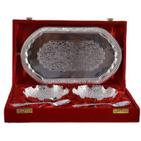 Silver Plated 2 Bowl Set With Tray And Spoons