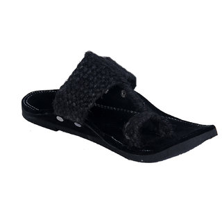 Panahi Men's Jute Velvet Black Slipper