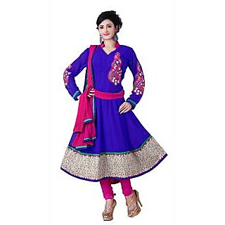 ZOYA Alluring Navy Blue & Pink Semi-Stitched Georgette Embroidered Anarkali Suit D.No ZO7502