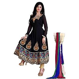 ZOYA Radiant Black Semi-Stitched Georgette Embroidered Anarkali Suit D.No ZO7503