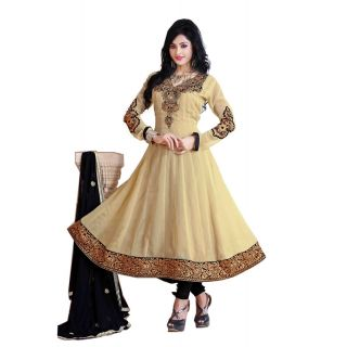 ZOYA Dazzling Cream Semi-Stitched Georgette Embroidered Anarkali Suit D.No ZO7505