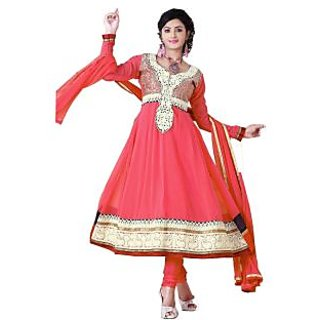 ZOYA Beautiful Peach Semi-Stitched Georgette Embroidered Anarkali Suit D.No ZO7506