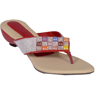 Altek Women Multicolour Ethnic Slipper (altek_s113_red)