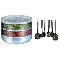 Ni Marketing COMBO OF SPROUT MAKER 2 COMPARTMENTS WITH KITCHEN TOOL SET OF 6 PCS.