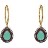AD STONE STUDDED PAN SHAPE DROP BALI EARRINGS/HANGINGS (GREEN)  - PCFE3092