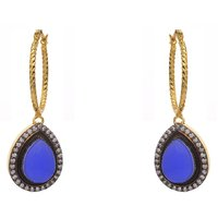 AD STONE STUDDED PAN SHAPE DROP BALI EARRINGS/HANGINGS (BLUE)  - PCFE3095