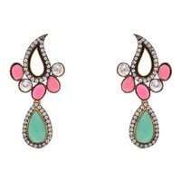 AD STONE STUDDED KAIRI SHAPED PAN DROP EARRINGS/HANGINGS (GREEN RED)  - PCFE3106