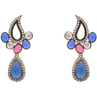 AD STONE STUDDED KAIRI SHAPED PAN DROP EARRINGS/HANGINGS (RED BLUE)  - PCFE3107