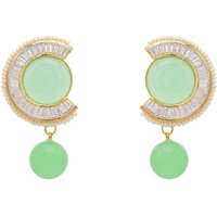 AD STONE STUDDED ROUND SHAPED ROUND DROP EARRINGS/HANGINGS (LIGHT GREEN)  - PCFE3135